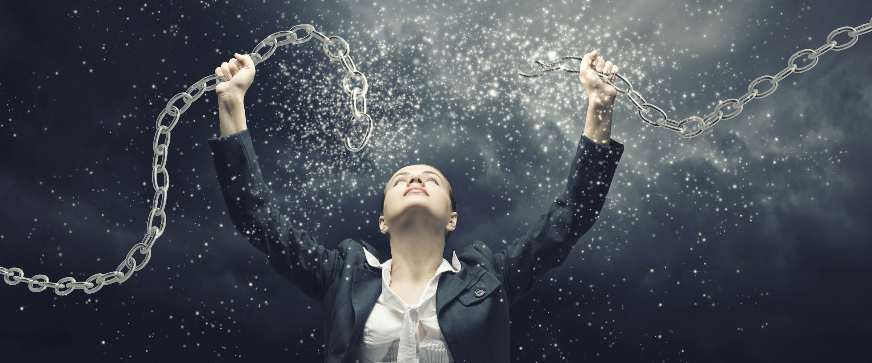 Woman breaking chains